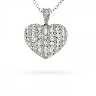 2.00 Carat Pavé Set Diamond Heart Pendant