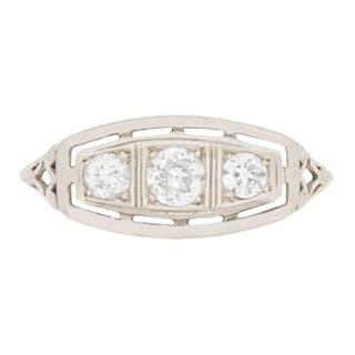 Edwardian Three Stone Diamond Engagement Ring, c.1910s
