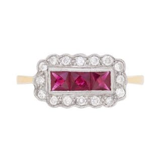 Victorian-Inspired Three Stone Ruby and Diamond Cluster Ring