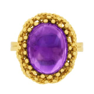 Late Victorian Cabochon Amethyst Ring, c.1900s