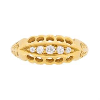 Antique Old Cut Diamond Five Stone Ring, c.1900s
