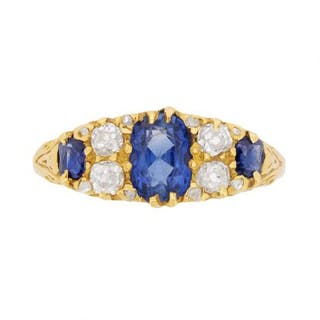 Vintage Seven Stone Sapphire and Diamond Ring, c.1930s