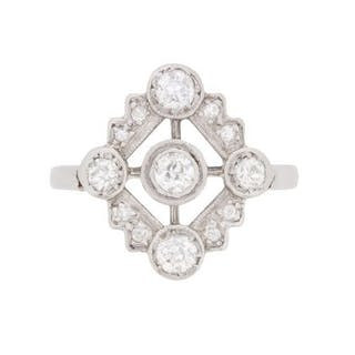 Art Deco Old Cut Diamond Cluster Dinner Ring, c.1920s