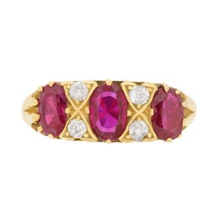 Vintage Ruby and Diamond Ring, c.1970s