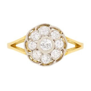 Vintage Old Cut Diamond Cluster Ring, c.1940s