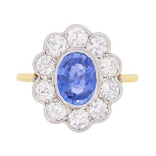 Vintage Sapphire and Diamond Halo Ring, c.1960s