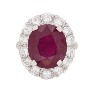 Vintage 7.91 Carat Ruby and Diamond Ring, c.1950s