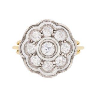 Vintage 1.05 Carat Diamond Daisy Cluster Ring, c.1930s