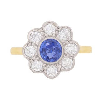 Vintage Sapphire and Diamond Flower Cluster Ring, c.1970s