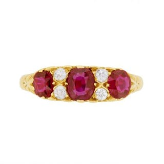 Victorian Seven Stone Ruby and Diamond Ring, c.1900s