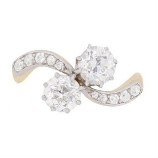 Edwardian EDR Certified 1.66 Carat Diamond Crossover Ring with Set