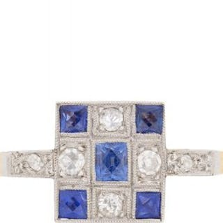 Late Art Deco Sapphire and Diamond Cluster Ring, c.1930s