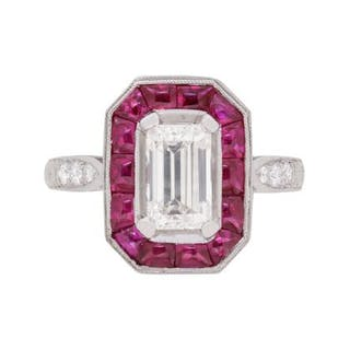 EDR Certified 1.10 Carat Emerald Cut Diamond and Ruby Halo Ring, c.1950s