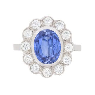 French 3.00 Carat Sapphire and 1.20 Carat Diamond Halo Ring, c.1940s