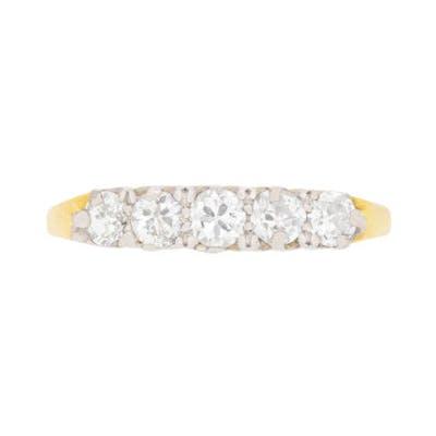 Art Deco 0.75 Carat Old Cut Diamond Five Stone Ring, c.1920s