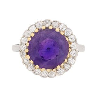 Art Deco Amethyst and Diamond Halo Ring, c.1920s