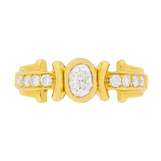 EDR Certified Oval-Shaped Diamond Statement Ring with Set Shoulders