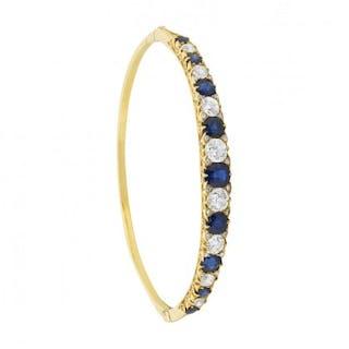 Late Victorian Old Cut Sapphire and Diamond Bangle Bracelet, c.1900s