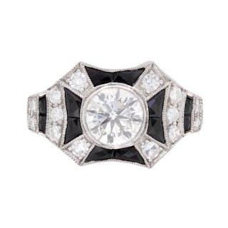 Art Deco Inspired Diamond and Onyx Ring, c.1940s