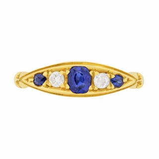 Old Cut Sapphire and Diamond Five Stone Ring, c.1920s