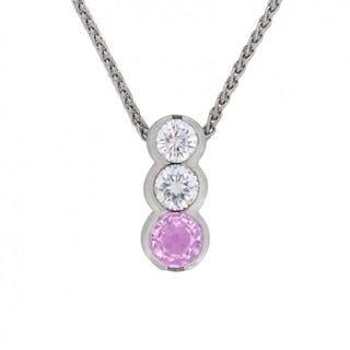 Pink Sapphire and Diamond Drop Necklace, Modern