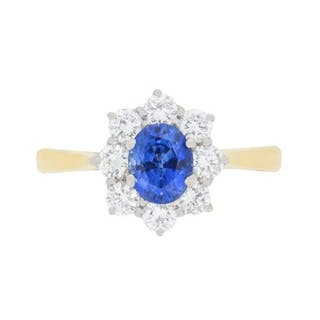 Vintage Sapphire and Diamond Cluster Ring, c.1980s