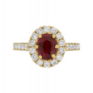 18 Carat Yellow Gold Ruby and Diamond Halo Ring