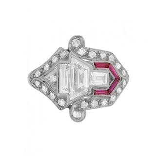 Vintage Diamond and Ruby Cluster Ring, c.1950s