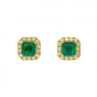 1.29 Carat Emerald and Fancy Yellow Diamond Earrings
