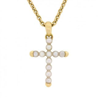 Cartier Pearl Cross Necklace With Original Hallmarks