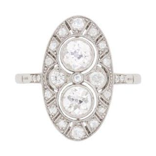 Art Deco Inspired Diamond Cluster Ring, c.1950s