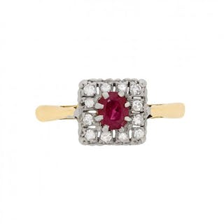 Art Deco Ruby and Diamond Cluster Ring, c.1920s