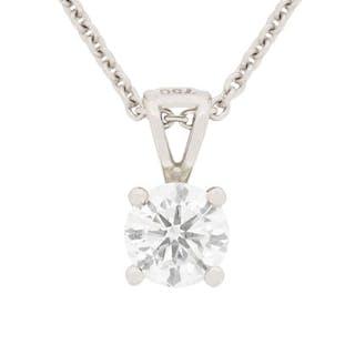 0.70 Carat Certified Diamond Pendant Necklace