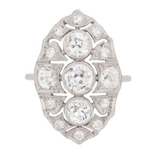 Early Art Deco Diamond Cluster 'Boat' Ring, c.1920s