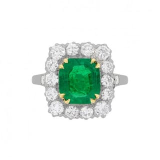 Late Art Deco Emerald and Diamond Cluster Ring, c.1930s