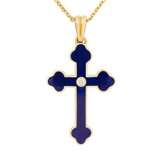 Faberge Cross Necklace With Diamond