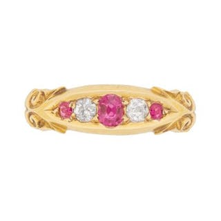 Victorian Ruby and Diamond Five Stone Ring, c.1900s