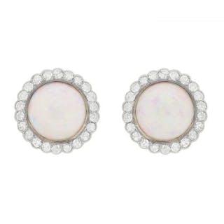 Vintage Opal and Diamond Cluster Earrings, c.1950s