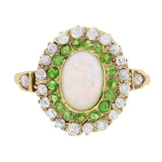 b21305ac5 Victorian Opal, Green Garnet and Diamond Double Halo Ring, c.1890s