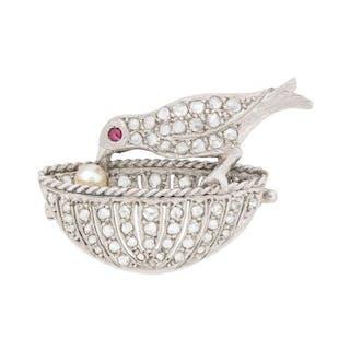 Art Deco Diamond, Ruby and Pearl Bird Brooch, c.1920s