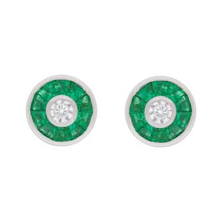 Diamond and Emerald Halo Earrings