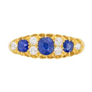 Edwardian Sapphire and Diamond Dress Ring, c.1906