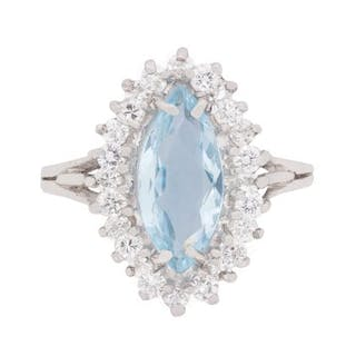 American Aquamarine and Diamond Cluster Dress Ring