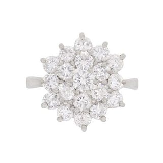Vintage 2.30 Carat Diamond Cluster Dress Ring, c.1970s