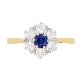 Edwardian Sapphire and Diamond Cluster Ring, c.1910