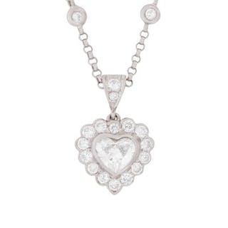 Halo Heart Pendant with Diamond Chain