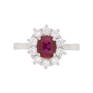 Vintage 1.84 Carat Ruby and Diamond Cluster, c.1980s