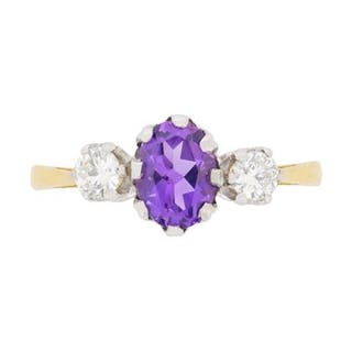 Vintage Amethyst and Diamond Three Stone Ring, c.1950s