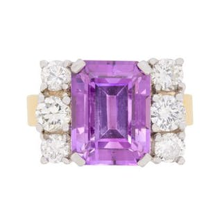 Vintage Amethyst and Diamond Dress Ring, c.1960s