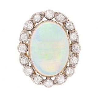Edwardian Opal and Diamond Cluster Ring, c.1910